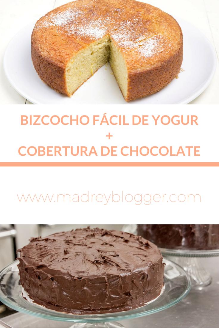bizcocho de yogur y cobertura de chocolate en www.madreyblogger.com