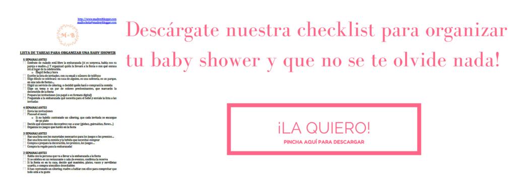 Descárgate nuestra checklist para organizar tu baby shower y que no se te olvide nada!