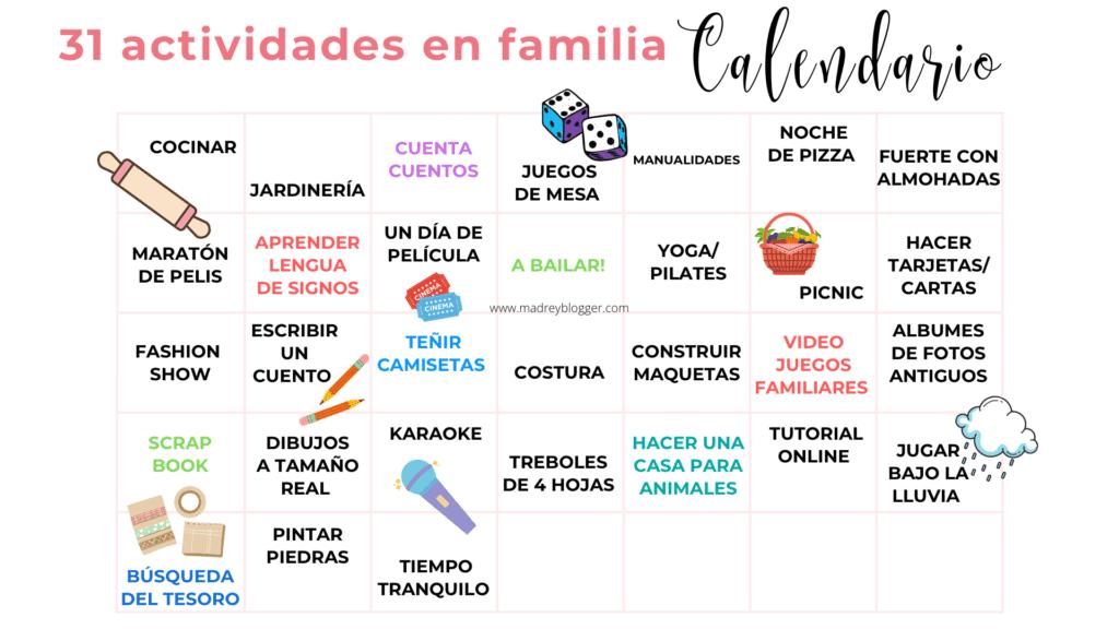31 días de actividades para hacer en familia